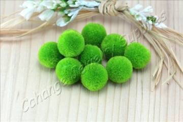 handmade-cotton-pompoms-forest-green