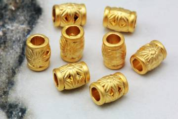 10mm Brass Smooth Tube Charm 10 pcs  GPY-443 Gold Plated Tube Spacer Bead